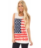 米国旗 プリント ホワイト ゆったり タンクトップ cc250108-1
