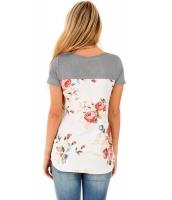グレー 花柄 ローバック Tシャツ cc250119-11