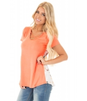 オレンジ 花柄 プリント ロー バック Tシャツ cc250119-14