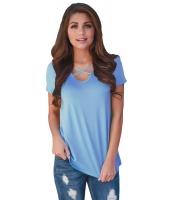 ブルー 花柄 プリント ロー バック Tシャツ cc250119-5