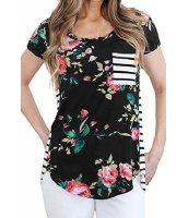 ネイビー 花柄 & ストライプ カジュアル Tシャツ cc250131-105