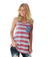 グレー アメリカ 国旗 タンクトップ トップス リボン 入り lc250180-3