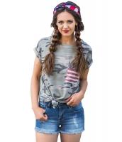 アメリカ 国旗 ポケット グレー カモフラージュ シャツ lc250189-11