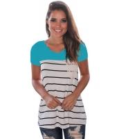 ブルー スプライス ストライプ 半袖 Tシャツ lc250211-5