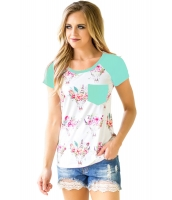 ミント 半袖 ポケット 花柄 シャツ lc250271-9