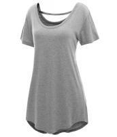 グレー 快適 半袖 ベーシック ロング Tシャツ cc25797-11