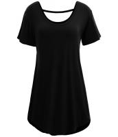 ブラック 快適 半袖 ベーシック ロング Tシャツ cc25797-2