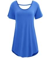 ブルー 快適 半袖 ベーシック ロング Tシャツ cc25797-5