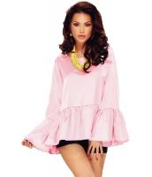 ピンク ひだ飾り ワイド 袖 ハイロー 裾周り ブラウス cc25801-10