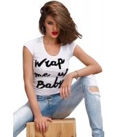 ブラック セクシー ベビー テキスト プリント Tシャツ cc25820-2