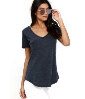 グレーブルー 夏 ベーシック ポケット Tシャツ cc25832-1011