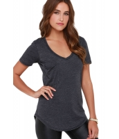グレー 夏 ベーシック ポケット Tシャツ cc25832-11
