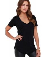 ブラック 夏 ベーシック ポケット Tシャツ cc25832-2
