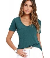 グリーン 夏 ベーシック ポケット Tシャツ cc25832-9