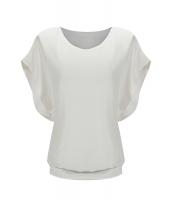 ホワイト ルーズ カジュアル 半袖 シフォン トップス Tシャツ ブラウス cc25847-1