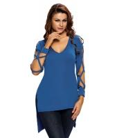 ファッション Vネック クリスクロス ホローアウト 長袖 トップス ブルー cc25880-5