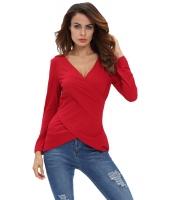 レッド Vネック 非対称 長袖 ピュア カラー Tシャツ cc25897-3