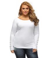 ホワイト 大きいサイズ-サイズ クリスクロス バック ロング-袖丈 トップス cc25925-1