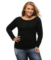 ブラック 大きいサイズ-サイズ クリスクロス バック ロング-袖丈 トップス cc25925-2