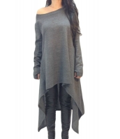 グレー 非対称 裾周り 長袖 大きいサイズ セーター cc25975-11