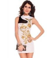 【即納】ミニワンピース ミニドレス セクシードレス パーティドレス ホワイト花柄ボディコン tk-cc2668-1-l-wh【カラー:ホワイト】【サイズ:L】