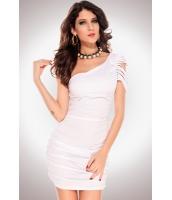 ミニワンピース ミニドレス セクシードレス パーティドレス リップワンショルダードレス ホワイト-cc2713-1