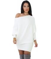 ホワイト ドルマン 袖 ニット セーター ドレス cc27645-1