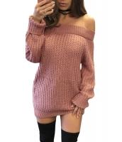 ピンク オフショルダー カット バック セーター ドレス cc27661-10