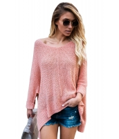 ピンク 大きいサイズ ニット ハイロー サイドスリット セーター cc27680-10