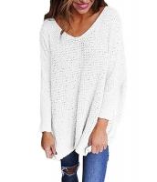 ホワイト 大きいサイズ 長袖 ニット V-ネック セーター cc27741-1