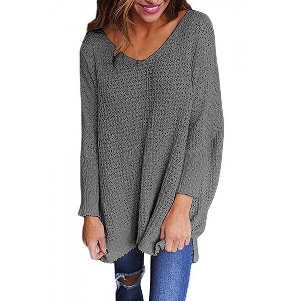 グレー 大きいサイズ 長袖 ニット V-ネック セーター cc27741-11
