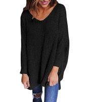 ブラック 大きいサイズ 長袖 ニット V-ネック セーター cc27741-2