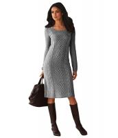 グレー レディース 手編み セーター ドレス cc27772-11
