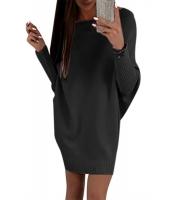 ブラック スタイリッシュ 長袖 バギー セーター ドレス cc27816-2