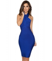 ブルー ホルターネック ボンテージ ドレス cc28398