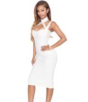 ホワイト ハイ ネック ホローアウト ボンテージ ドレス cc28411-1