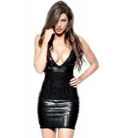 ディープVネック アリゲーターコーティング ホイル ブラックショート ボンテージ ドレス cc28415-2