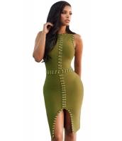 ゴールド メタル飾り 入り オリーブ ボンテージ ドレス cc28419-9