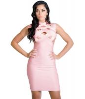 ピンク カットアウト ミディ ボンテージ ドレス cc28425-10