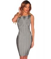 グレー セージ ノースリーブ・袖なし ボディコン ボンテージ ドレス cc28441-11