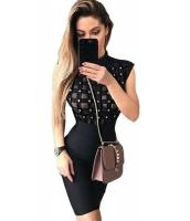 ブラック ハイ ネック ノースリーブ・袖なし ビーズ シースルー ボンテージ ドレス cc28456-2