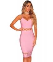 ピンク ボンテージ レースアップ ノースリーブ・袖なし ドレス lc28462-10