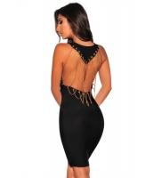 ブラック バンテージ ゴールド ドレープチェーン ドレス cc28465-2