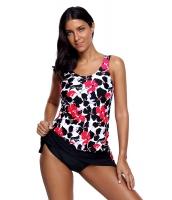 ピンク ブラック 花柄 タンキニ 2点セット スカート水着 cc410489