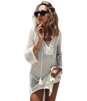 ホワイト レースアップ ネック ロング 網 ビーチファッション ドレス cc42138-1