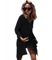 ブラック レースアップ ネック ロング 網 ビーチファッション ドレス lc42138-2