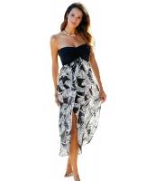 ブラック ホワイト プリント ビーチ ドレス cc42159-1