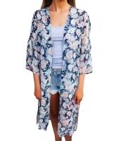 ダークブルー 花柄 サイドスリット ボヘミアン 羽織もの cc42216-5
