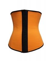 大きいサイズ オレンジ 4 スチールボーン ラテックス アンダーバスト コルセット cc5374-5p
