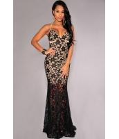 ブラック レースルック クリスクロス バック ナイトドレス  ドレス パーティドレス マキシドレス セクシードレス マーメイドラインCC60039-2